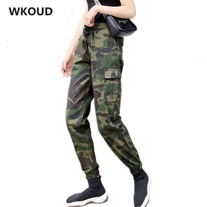 WKOUD Camouflage Cargo Pants For Women Drawstring Waist Loose Sweatpants Casual
