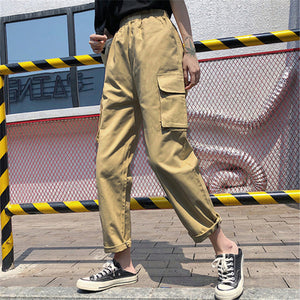 WKOUD Cargo Pants For Women Casual Ankle-length Solid Pants Elastic High Waist Trousers Female Candy Colors Sweatpants P8949