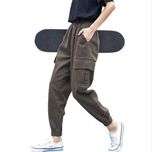 Plus Size 5XL Cargo Pants For Women Solid Loose Big Pockets Sweatpants