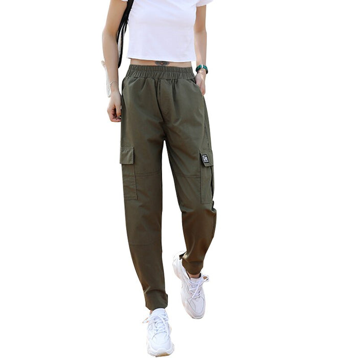 2019 New Cotton Cargo Pant Women High Waist Hip Hop Trousers for Women Loose