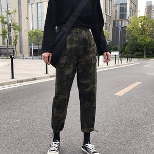 Fashion camo printing cotton pants for girls large pockets loose cargo pants women