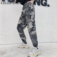 Camouflage Cargo Pants Women Casual Joggers elastic Waist Korean fashion long