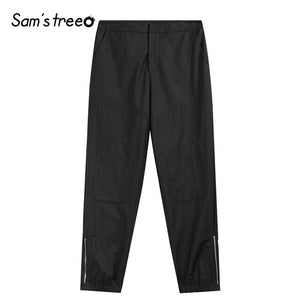 Samstree Vintage Black Women Cargo Pants,2019 Autumn Fashion Mid Waist Female Trousers Streetwear Casual Office Lady Bottoms