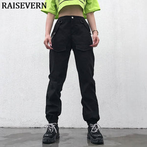 Women's Fashion Camo Cargo Trousers Pants Slim Solid Color Cargo Pants Womens Hip Hop Pant Streetwear Long Pants With Chains