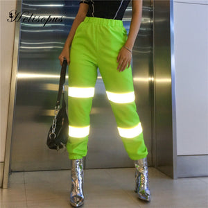 Helisopus Neon Green Reflective Spliced Cargo Pants Women Spring High Waist Casual