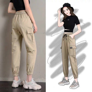 Cargo Pants Women Solid Loose Big Pockets Sweatpants Casual BF Ankle-Length Trousers Female Pants Streetwear Hip Hop Pants Girls