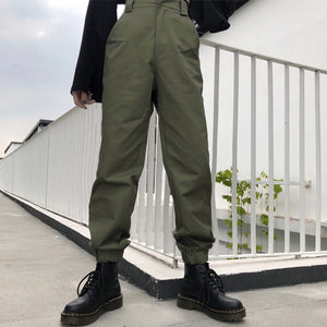 New Fashion High waist pants loose joggers women army harem camo pants streetwear punk black cargo pants women capris trousers