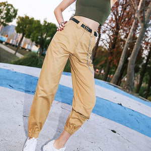 Fashion Camouflage cargo pants women black Loose elastic high waist harem pants