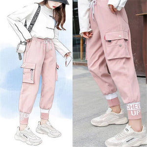 Pink Cargo Pants Streetwear Women Casual Pants With Pocket Lasdies Patchwork Pencil Sweatpants Cool Autumn  Bottom Korean Pants