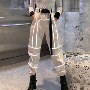 Cool Reflective Stripe Patchwork Gothic Cargo Pants Women Streetwear High Waist Trousers With Sashes Pockets Knitted Trousers