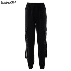 Weirdgirl women 100%cotton casual pants fashion streetwear solid black high waist cargo pant lady long trousers autumn new