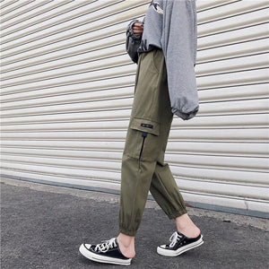 2019 Casual High Waist Cargo Pants Women Fashion Pockets Loose Trousers Female Lace