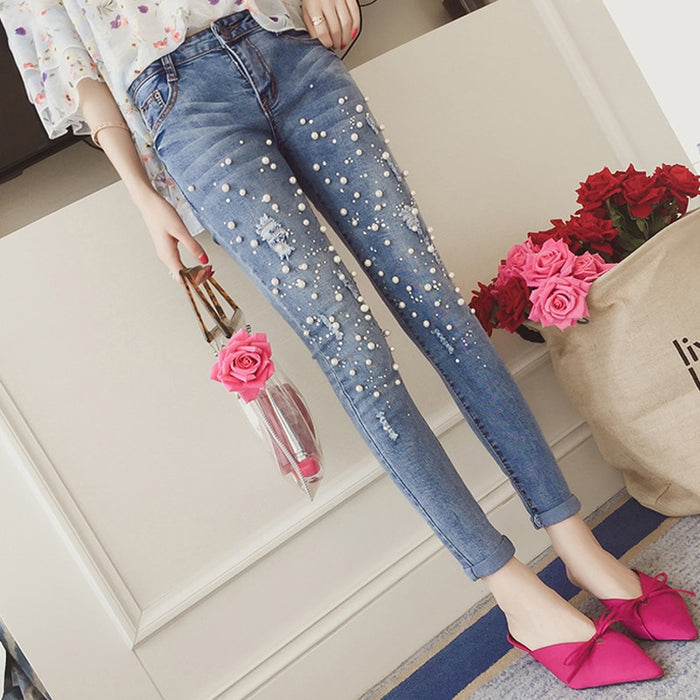 Vintage Pearls Hole Ripped Stretch Jeans Women Jeggings Cool Denim High Waist Pants Capris Female Skinny Pencil Jeans 2018