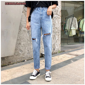 High Waist Summer Ripped Pants Women Straight Denim broken Jeans Boyfriend Jeans for Women Torn Pants