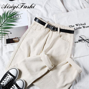 AISIYIFUSHI White Mom Jeans Cintura Alta Vintage Boyfriend Jeans for Women Harem Jeans Denim Pants Trousers Loose for Women 2019