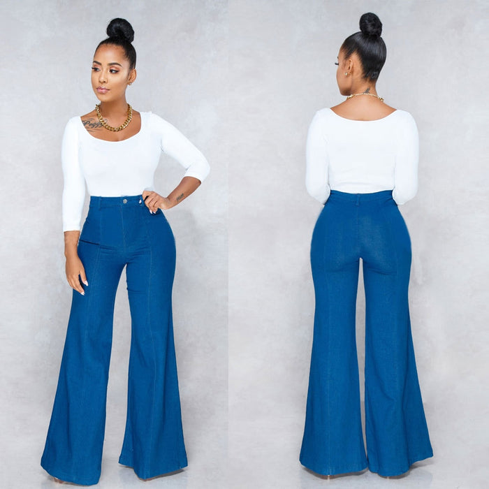 Fashion Flare Jeans Woman Denim Trousers Vintage Women Clothes 2019 Fall High Waist Pants Blue Stretchy Jeans Mom Jeans