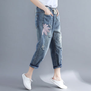 2019 Summer  Women Jeans Literary Large Size Embroidery Trend Design Personality
