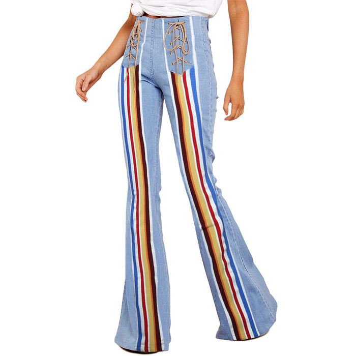 Fashion Casual Wide Leg Denim Jeans Bleached  Embroidery High Waist Pants Butt Lift  Trousers
