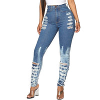 2019 Newest Hot Women Stretch Ripped Distressed Skinny High Waist Denim Pants