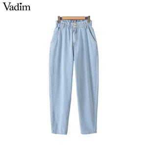 Vadim women vintage denim jeans paperbag high waist pockets zipper fly stylish female chic retro trousers pantalones KB056