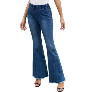 Fashion Casual  High Waist Women Wide Leg Jeans Hole Solid  Denim Jeans Ripped  Pants