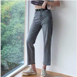 Colorfaith 2019 Women Jeans Casual Straight High Waist Trousers Pants for Ladies Grils Ankle Length P9570
