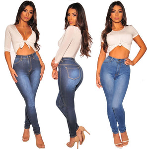New fashion high waist women's jeans casual Slim women's trousers sexy gradient color women's trousers ladies feet jeans