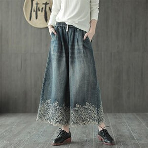 Women Wide Leg Culottes Bottom Jeans Denim Pants Trousers for Ladies Embroidery Lace Big Loose Plus Size Fashion Elegant Style