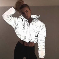 Jackets Women Sliver Short Coat Female Turtleneck Padded Jacket
