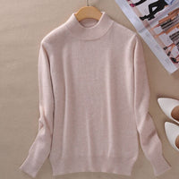 2019 Women  Cashmere WooL Blend Sweater And Pullover Long Sleeve Knitted Half Turtleneck Pullover Women Winter Knit-wear Sweater