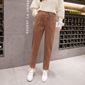 Vintage Women Corduroy Pencil Pants Lace Up Elastic Waist Pockets Casual Trousers