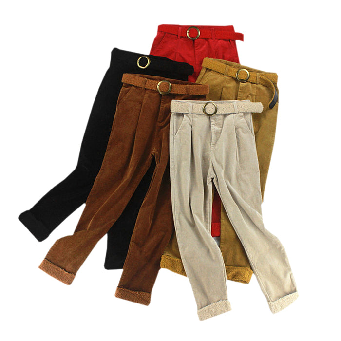 2018 High Waist Corduroy Pants For Women Autumn Winter Loose Lambswool Trousers