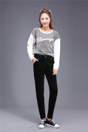 2019 autumn and winter women's temperament fashion casual corduroy pants cute