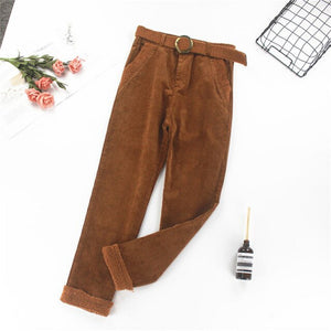 Autumn Sashes Thick Corduroy Pants Women High Waist Warm Casual Female