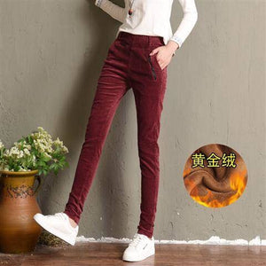 Spring Autumn Corduroy Women Trousers Hot Sale Elastic Waist Solid Colors