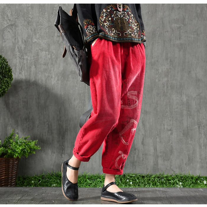 Womens Corduroy Harem Pants Bottoms Trousers for Ladies Thick Big Loose Embroidery