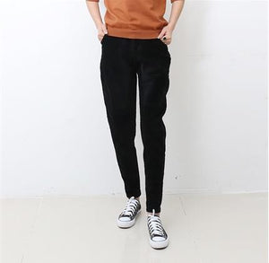 Women Pants Autumn and winter fashion casual Stitching loose corduroy elastic waist