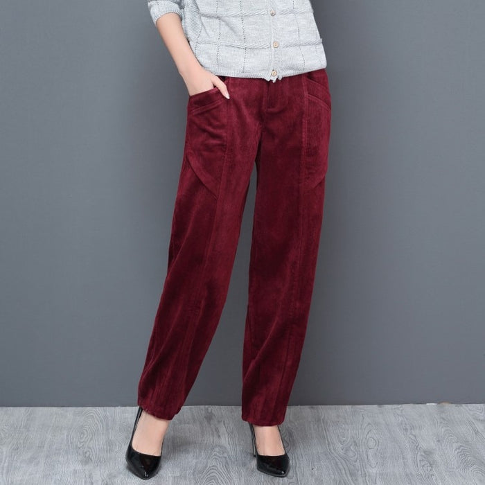 Corduroy harem pants for women high waist black green red spring autumn casual