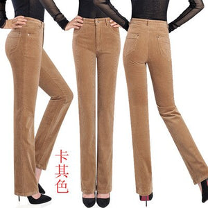 Women's Wide Leg corduroy pants mid waist trousers flare corduroy trousers casual