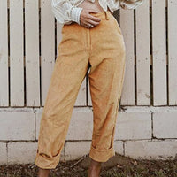 Women Pencil Stretch Pants Casual Corduroy Skinny Pants High Waist Solid Color Slim