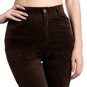 High waist straight pants for women 2018 autumn winter corduroy skinny solid cotton