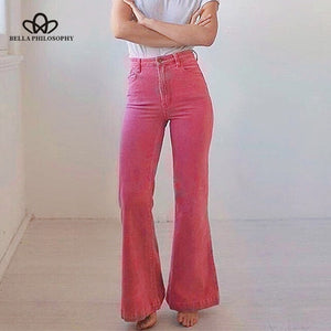 Bella philosophy women 2019 autumn solid high street pants ladies high waist Wide