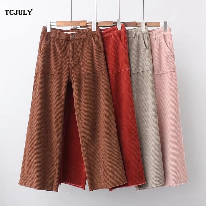 TCJULY New Arrival Women's Corduroy Trousers Fashion Vintage Solid Wide Leg Pants