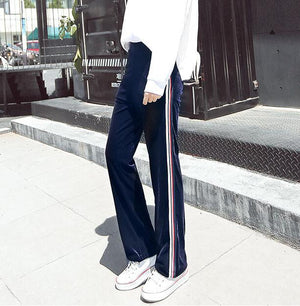 Spring Sweatpants Women Shine Color Corduroy Loose Trousers For Women Striped