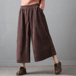 Lady Vintage Trousers Autumn Women High Waist Loose Cotton Corduroy Pants Female