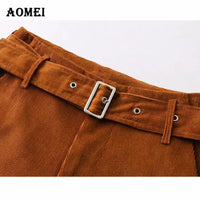 Women Wide Leg Corduroy Pants Ankle Length for Lady with Sash High Waist Caramel