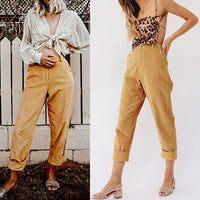 Autumn Women Trousers Long Pants Casual High Waist Corduroy Crimping Pockets New