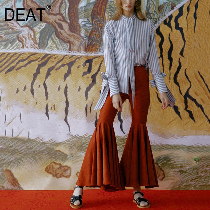 [DEAT] 2019 New Spring Summer High Waist Corduroy Hem Pleated Split Joint Loose