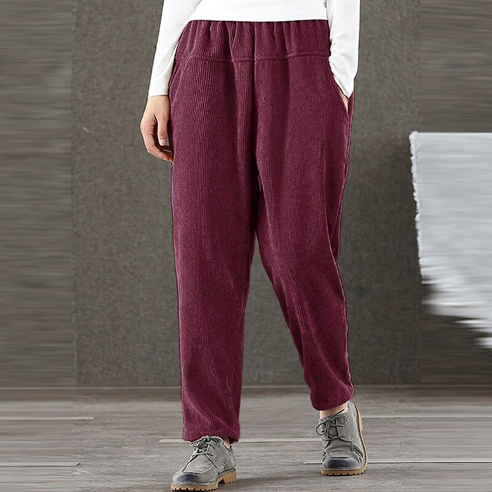 Women Autumn Pants Elastic Middle Waist Loose Corduroy Casual Pockets Trousers