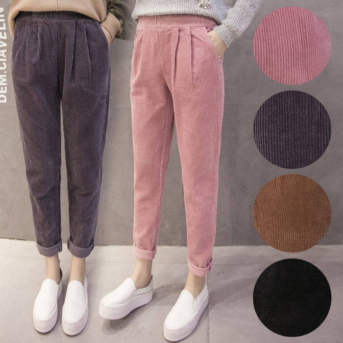 Corduroy Loose Elastic Waist Trousers Spring Autumn Casual Fashion Solid Color Pants